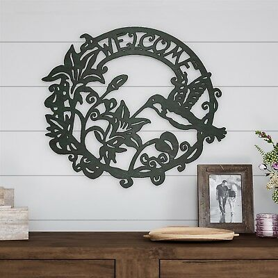 Welcome Sign Floral Bird Metal Cutout 3D Look Wall Hanging Decor 19 Inch Circle