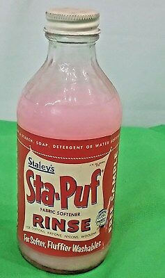 RARE Vintage 1956 STA PUF fabric softener Early  Staley Soap Glass Jar