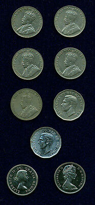 Canada 5 Cents Coins: 1922, 1929, 1930, 1933, 1936, 1944, 1949, 1964, & 1965