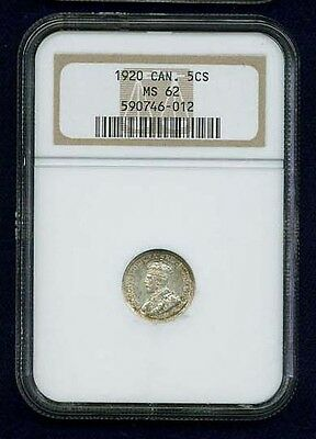 Canada  George V 1920 5 Cents Silver Coin, Ngc Certified Uncirculated Ms-62