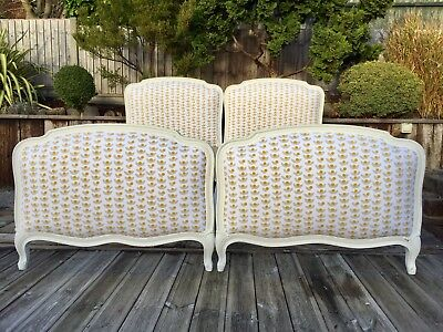 Pair Of Antique French Beds Superking Twin single Beds Vintage New Upholstery