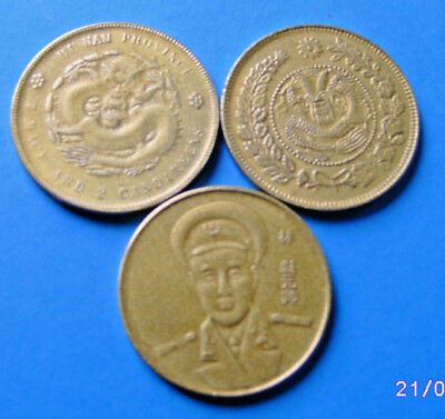 3 x Medaille China Dollar goldfarben mit Kopf+Hu-Nan-Province Copy 38 mm+18 g