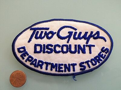 Vintage TWO GUYS DISCOUNT Department Stores PATCH unused RARE sew on NJ NY PA CT