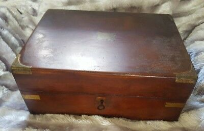 ANTIQUE Victorian JEWELLERY BOX Brass bound ROSEWOOD + KEY