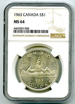 1963 $1 Canada Silver Dollar Ngc Ms64 Voyageur - Mint State Uncirculated