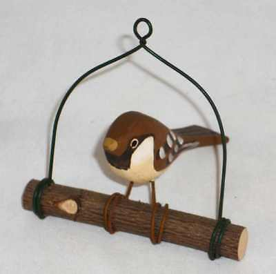Vintage Carved & Painted Wood Small Folk Art Bird on a Swing Brown Color Khor?
