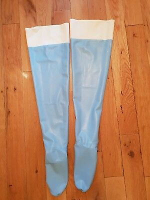 Blue Rubber Stockings 100% Latex