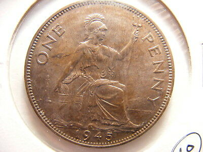 Great Britain 1945 Large Penny, Brown Uncirculated, WWII Issue