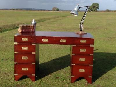 Vintage Twin Pedestal Mahogany Desk Campaign Brass Fitting Red Leather Top Chic