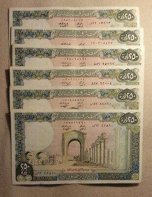 1986 LOT OF 6 LEBANON #67d 250 LIVRES VF CIRCULATED OLD BANKNOTES NOTES BETTER
