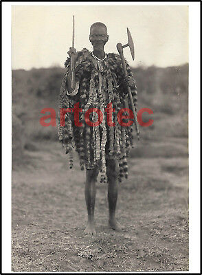 Antique vintage real old photograph Shona warrior tribal w spear and axe Africa