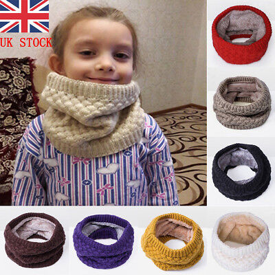 UK Kids Girls Boys Winter Scarf Fleece Lined Warm Toddler Scarf Neck Loop Warmer
