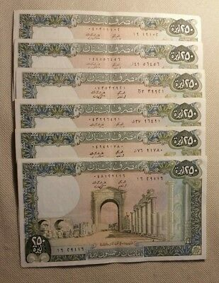 1985 Lot Of 6 Lebanon P 67 250 Livres Vf Circulated Old Banknotes Notes Better