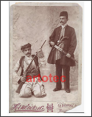 Antique cabinet photograph Persia Middle East fighters kindjal dagger rifle guns