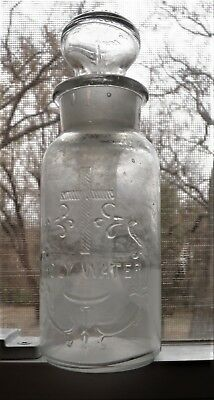 HOLY WATER..1904, Fancy Embossed with Glass Sprinkler,  Round Stopper