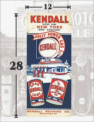 KENDALL GAS OIL PETROLIANA VINTAGE STYLE POSTER GUIDE MAP - 12x28 - HEAVY GLOSSY