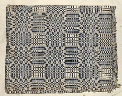 """Antique 19th century woven 2-panel Coverlet 80"""" x 101"""""""