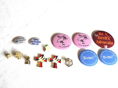 Mixed Lot of Religious Pins Buttons Magnets Cross Dove Bishop Angel E=mc2 Stork