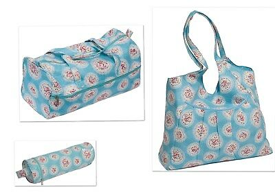 Matching set of Blue Cameo Patterned Knitting Bag, Needle Holder and Tote Bag