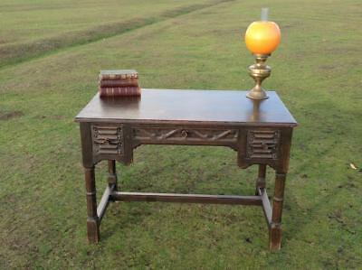 Antique Solid Oak Desk Gothic Regency Carved Refectory Console 30's Rustic Chic