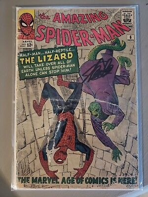 Signed Stan Lee - Amazing Spider-Man #6 - First Appearance of The Lizard