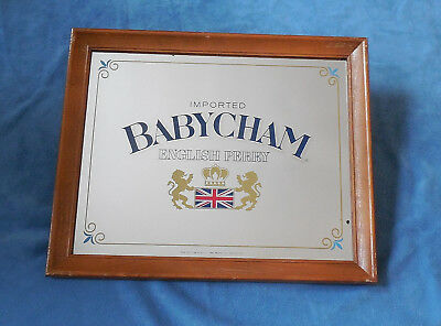 """Vintage 20"""" X 16""""  Imported Babycham English Perry Framed Bar Mirror - 1984"""