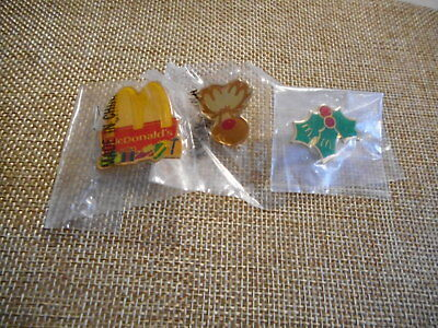 McDonalds Vtg 1980's 1990's Christmas Pins Set/3 Sealed Holly Arches Reindeer