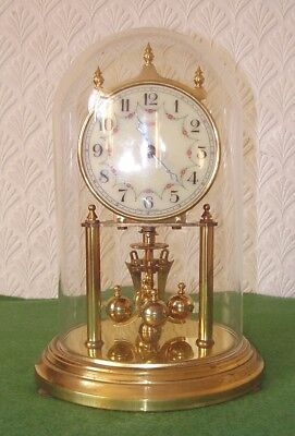 Vintage Kundo 400 Day Torsion Clock Floral Swag Dial & Glass Dome 4 Small Repair