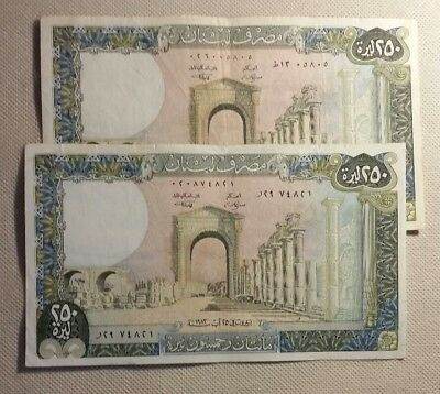 1983 Lot Of 2 Lebanon P 67 250 Livres Vf Circulated Old Banknotes Notes Better