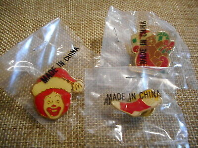 McDonalds Vintage 1990's Pin Set of 3 Christmas Ronald Teddy Sleigh Stocking New