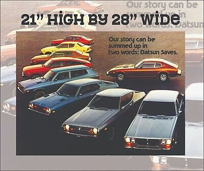 VINTAGE DATSUN CAR LINEUP POSTER - 21x28 - HEAVY GLOSSY PAPER - FREE US SHIP