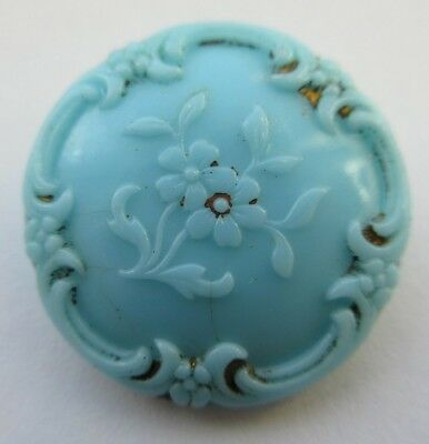 "Lovely Antique~ Vtg Victorian Robins Egg Blue GLASS BUTTON w/ Flowers 7/8"" (M)"