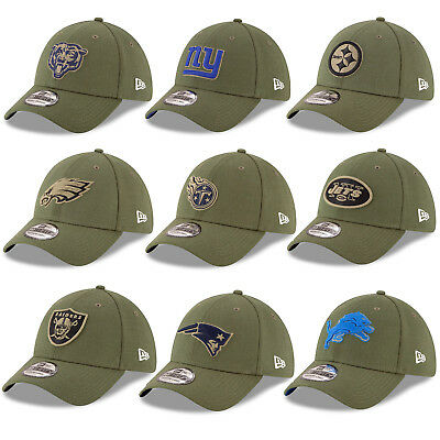 low priced 6d646 24d03 New Era NFL 2018 Salute to Service Sideline Men s Khaki 39THIRTY Stretch  Fit Cap