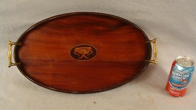 "Antique 19C Inlaid Floral Mahogany Small 17"" Oval Serving Tray"