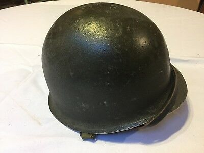 Original WW 2 WWII US Army M1 Helmet  W/ Fixed Bale and Liner chin strap