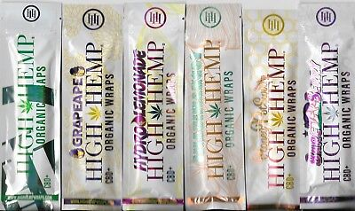 High Hemp 100% Organic Vegan Wraps 6 Pk: Hemp, Grape, Lemon, Mango, Honey, Berry