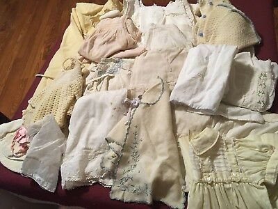 Lot 21 pcs Antique CLOTHES INFANT BABY or Large DOLL Embroidered Hand Made mixed