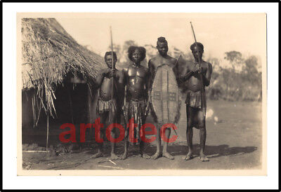 Vintage photo postcard Casimir Zagourski Congo warriors w bows and shield Africa