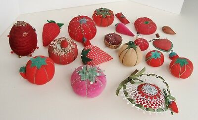 Vintage Lot of 20 Antique Tomato & Strawberry + Pin Cushions Needle Emery