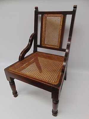 Antique Edwardian Style DINING CHAIR Woven Wicker Seat & Back Oak Frame - G25