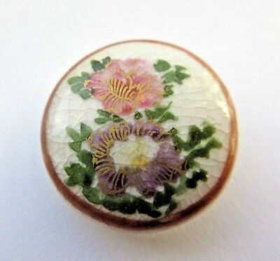 "Lovely Antique Hand Painted Japanese Satsuma Porcelain BUTTON Flowers 3/4"" (M)"