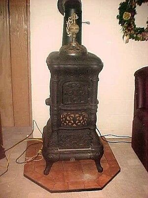 Early 1900's Antique Rosemont Cast Iron Parlor Stove With Fancy Finial
