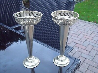 "Pair of Art Nouveau Silver Plated Trumpet Bud Vases with Pierced Tops ~ 9"" tall."
