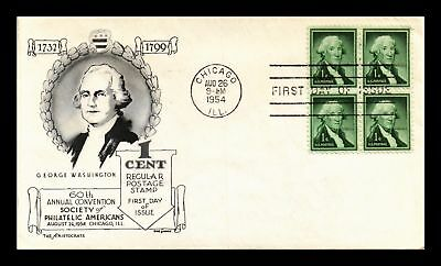 Dr Jim Stamps Us George Washington Spa Event Fdc Aristocrats Cover Block 1954