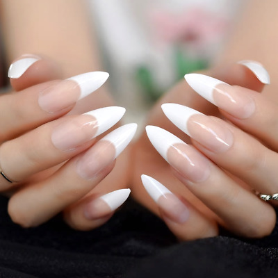 LONG STILETTO *FRENCH MANICURE* Full Cover Transp. Press On 24 Nail Tips + Glue!