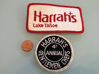 2 Vintage HARRAH'S Lake Tahoe Casino Hotel PATCH LOT unused RARE sew on
