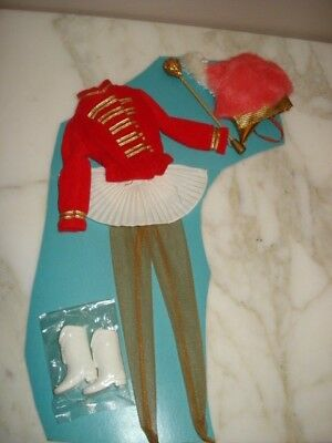 Vintage Barbie Doll Cheer Leader Outfit on card Boots Baton Hat