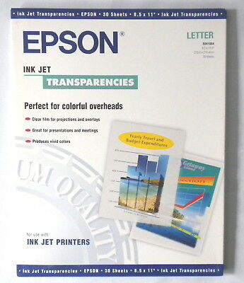 EPSON INKJET TRANSPARENCY 30 TRANSPARENCIES 8.5x11 S041064 NEW IN PACKAGE *RARE!