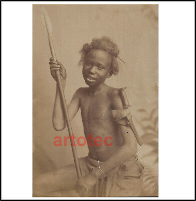 Antique 1880 H. Arnoux albumen photograph Beja tribe boy knife and spear Africa