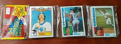 1984 Topps Unopened Rack Pack 54 Cards ROBIN YOUNT showing Brewers